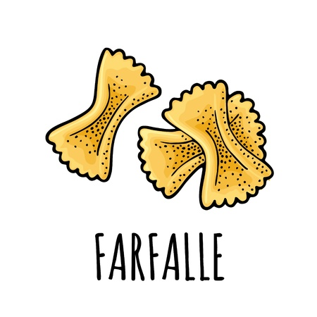 Pasta farfalle. Vector vintage engraving color illustration isolated on white background. Hand drawn design element Illustration