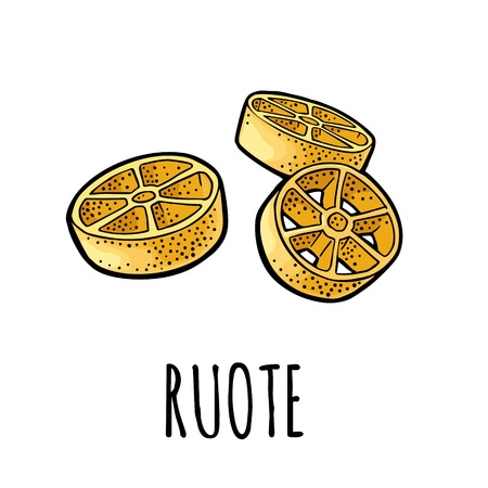 Ruote. Vector vintage engraving color illustration isolated on white background. Hand drawn design element