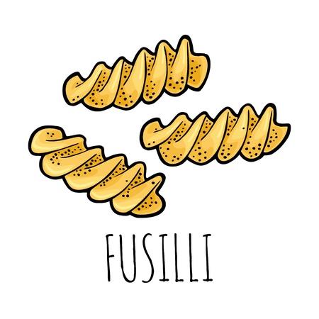 Pasta fusilli. Vector vintage engraving color illustration  イラスト・ベクター素材