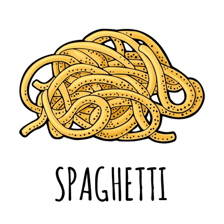 Spaghetti. Vector vintage engraving color illustration isolated on white background. Hand drawn design element