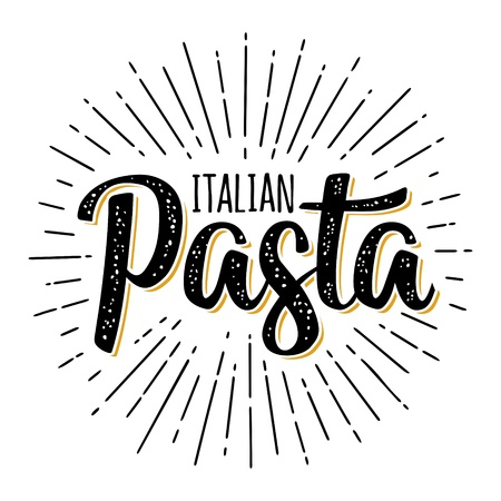 ITALIAN PASTA calligraphic handwriting lettering. Vector vintage color engraving Illustration