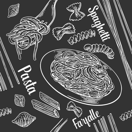 Seamless pattern set pasta with title. Vector vintage engraving illustration for poster, menu, web, banner, info graphic. Isolated on black background