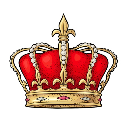 King crown. Engraving vintage vector color illustration. Isolated on white background. Hand drawn design element for label and poster Foto de archivo - 110288230