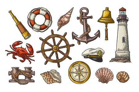Anchor, wheel, bollard, hat, compass rose, shell, crab, lighthouse engraving Stock Vector - 107923793