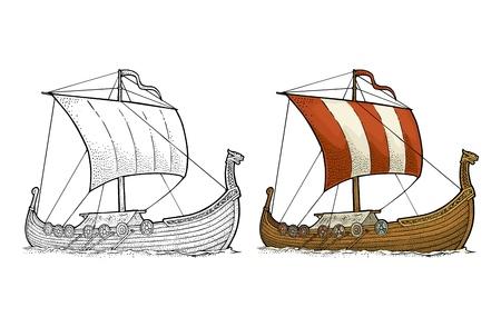 Drakkar floating on the sea waves. Hand drawn design element sailing ship. Vintage vector color engraving illustration. Isolated on white background for poster, label, postmark