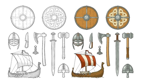 Establecer vikingo. Cuchillo, drakkar, hacha, casco, espada, martillo, amuleto de thor con runas. Ilustración de grabado de color de vector vintage aislada sobre fondo blanco. Elemento de diseño dibujado a mano para cartel, etiqueta, tatuaje