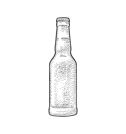 Close beer bottle. Vintage black vector engraving illustration. Isolated on white background. Hand drawn design element for label and poster