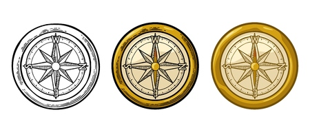 Compass rose isolated on white background. Vector color vintage engraving illustration. For poster yacht club. Иллюстрация