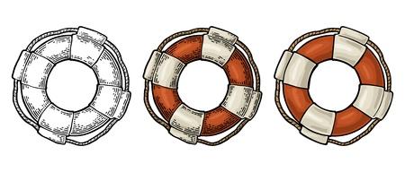 Aro salvavidas con cuerda aislado sobre fondo blanco. Ilustración de grabado vintage de color vectorial para tatuaje, web y etiqueta. Dibujado a mano en un estilo gráfico.