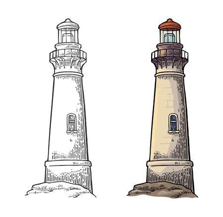Vuurtoren geïsoleerd op een witte achtergrond. Vectorillustratie kleur vintage gravure. Vector Illustratie