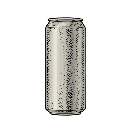 Aluminum can. Hand drawn vector color vintage engraving illustration isolated on on white background. For web, poster, invitation to beer party.