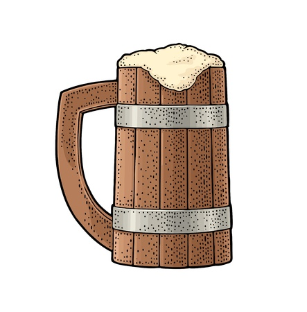 Beer wood mug. Vintage color vector engraving illustration. Isolated on white background. Hand drawn design element for label and poster
