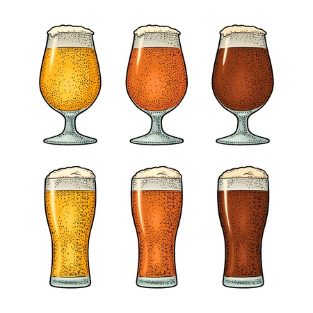 Glass with three types beer. Vintage color engraving Ilustração