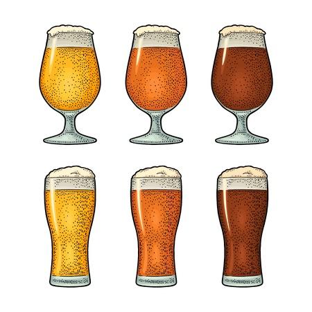 Verre avec trois types de bière. Gravure couleur vintage