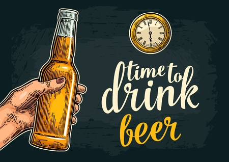Female hand holding open beer bottles and ancient watch. Time to drinklettering. Vintage vector color engraving illustration for poster, invitation to party. Isolated on dark background.