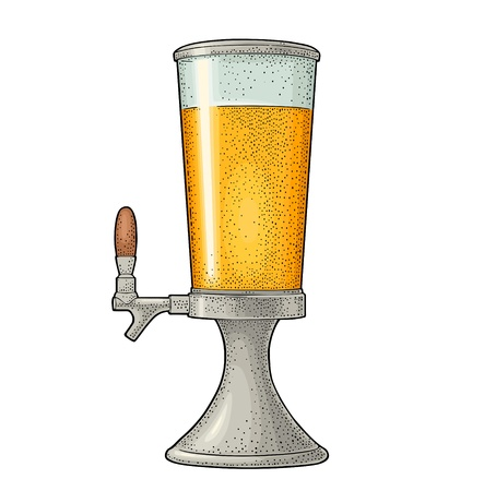 Beer tower with tap. Vintage vector color engraving illustration for web, poster, invitation to beer party. Hand drawn design element isolated on white background.