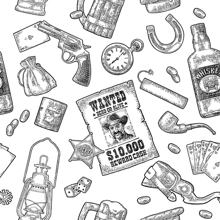 Seamless pattern Wild West and casino. Sheriff star, revolver, dice, horseshoe, wanted poster, whiskey, money bag, coins, bullet, watch, bomb, lamp. Vector vintage black engraving isolated on white
