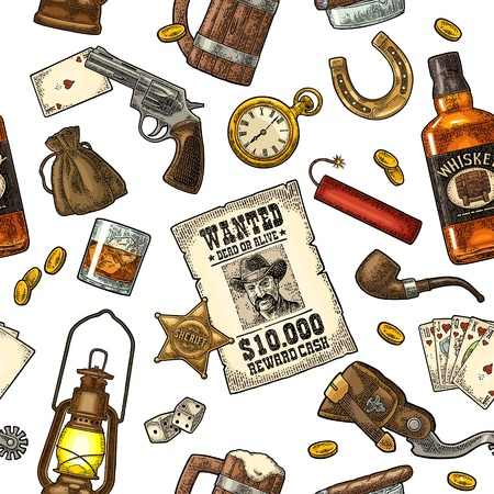 Seamless pattern Wild West and casino. Sheriff star, revolver, dice, horseshoe, wanted poster, whiskey, money bag, coins, bullet, watch, bomb, lamp. Vector vintage color engraving isolated on white Illustration