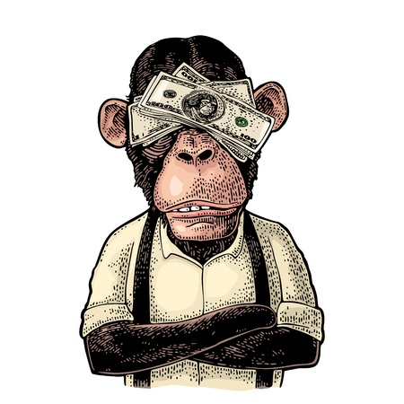 Monkeys with money on eyes. Vintage color engraving illustration for poster, web, t-shirt, tattoo. Isolated on white background