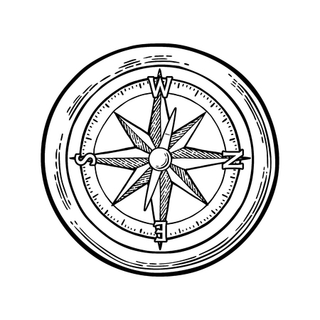 Compass rose isolated on white background. Vector black vintage engraving illustration. For poster yacht club.