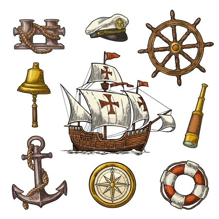 Set sea adventure. Anchor, wheel, caravel, compass rose, bollard, spyglass, bell, lifebuoy, lighthouse isolated on white background. Vector color vintage engraving illustration. For poster yacht club.