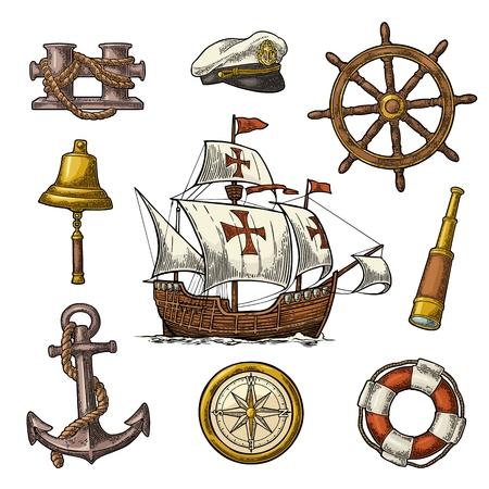 Définissez l'aventure en mer. Ancre, roue, caravelle, rose des vents, borne, lunette, cloche, bouée de sauvetage, phare isolé sur fond blanc. Illustration de gravure vintage de couleur de vecteur. Pour l'affiche du yacht club.