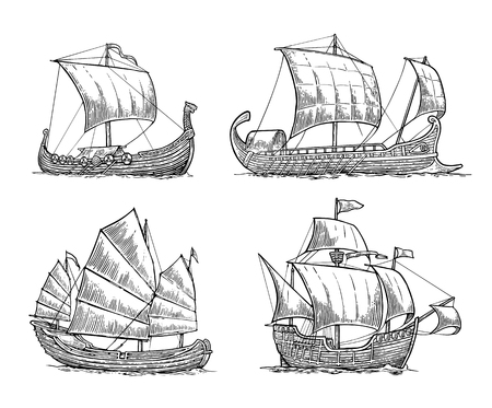 Trireme, caravel, drakkar, junk. Set sailing ships floating on the sea waves. Hand drawn design element. Vintage vector engraving illustration for poster, label, postmark. Isolated on white background.