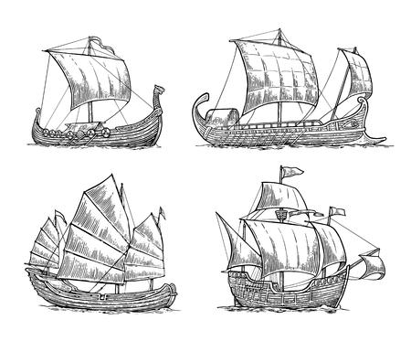 Trirème, caravelle, drakkar, jonque. Réglez les voiliers flottant sur les vagues de la mer. Élément de design dessiné à la main. Illustration de gravure de vecteur vintage pour affiche, étiquette, cachet de la poste. Isolé sur fond blanc.