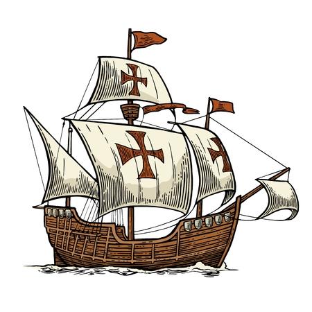 Velero flotando sobre las olas del mar. Carabela Santa María. Elemento de diseño dibujado a mano. Ilustración de grabado de vector de color vintage para cartel Día Colón. Aislado sobre fondo blanco. Ilustración de vector