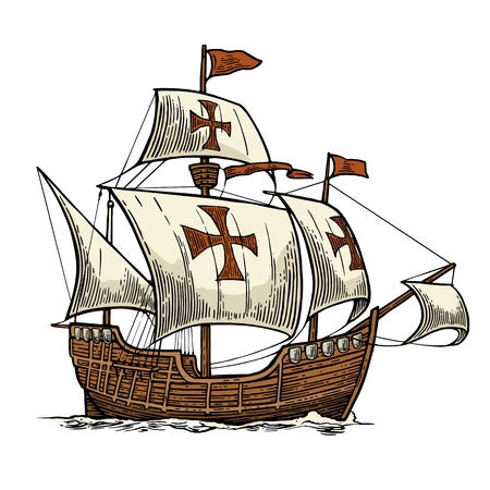 Sailing ship floating on the sea waves. Caravel Santa Maria. Hand drawn design element. Vintage color vector engraving illustration for poster Day Columbus . Isolated on white background.