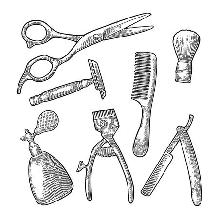 Set strumento per BarberShop con pettine, rasoio, pennello da barba, forbici, spray per flaconi e tagliacapelli. Incisione vintage nera vettoriale per logo, poster, banner. Isolato su sfondo bianco