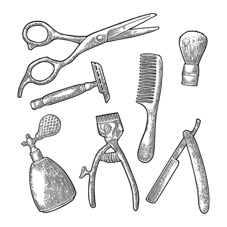 Set-Tool für BarberShop mit Kamm, Rasierer, Rasierpinsel, Schere, Flaschenspray und Haarschneidemaschine. Vector schwarze Vintage-Gravur für Logo, Poster, Banner. Isoliert auf weißem Hintergrund
