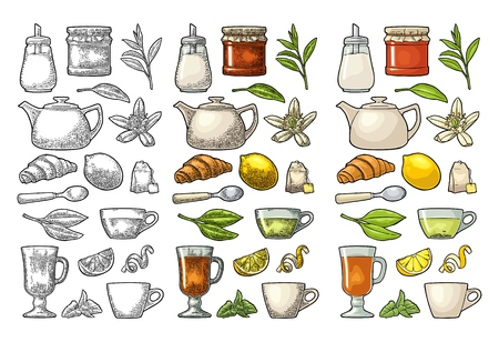 Set tea. Cup, branch, leaf, kettle, flower, lemon, croissant, bag, sugar shaker. Vector color vintage engraving and flat illustration for label poster web. Isolated on white background Çizim