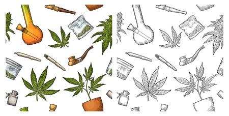 Nahtloses Muster mit Marihuana. Zigaretten, Pfeife, Feuerzeug, Knospen, Blätter, Flasche, Glas, Plastiktüte, Pfeife zum Rauchen von Cannabis. Vintage-Farbvektor-Gravurillustration lokalisiert auf Weiß