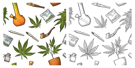 Seamless pattern with marijuana. Cigarettes, pipe, lighter, buds, leaves, bottle, glass jar, plastic bag, pipe for smoking cannabis. Vintage color vector engraving illustration isolated on white