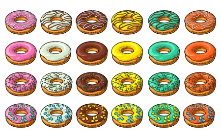 Définir le beignet avec différents glaçages, glaçages, rayures, pépites. Illustration de gravure vintage dessinée à la main de couleur vectorielle pour affiche, étiquette et menu boulangerie. Isolé sur le fond blanc. Vecteurs
