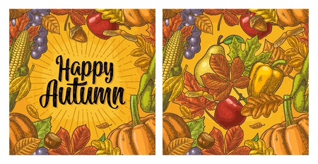 Seamless pattern leaf, acorn, chestnut, fruits, vegetables and acorn. Happy Autumn calligraphic handwriting lettering. Vector vintage engraved illustration on yellow background Ilustracja