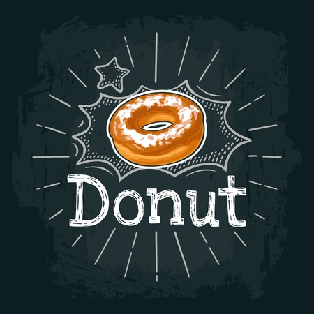 Donut with chocolate icing and white powdered sugar. Vector color flat illustration for menu bakery shop. Isolated on black chalkboard with vintage white chalk engraving ray, lettering, bubble