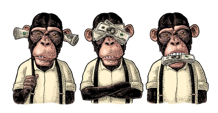Three wise monkeys with money on ears, eyes, mouth. Not see, not hear, not speak. Vintage color engraving illustration for poster, web, t-shirt, tattoo. Isolated on white background Archivio Fotografico - 108014135