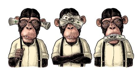 Tres monos sabios con dinero en las orejas, los ojos y la boca. No ver, no oír, no hablar. Ilustración de grabado de color vintage para cartel, web, camiseta, tatuaje. Aislado sobre fondo blanco