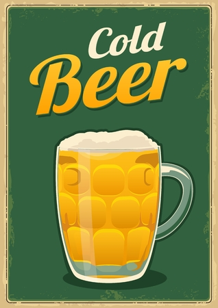 Vintage poster cold beer.