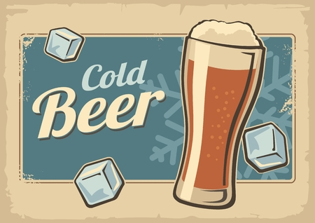 Vintage poster cold beer and snowflake. Retro label or banner design. Vector old paper texture bright background. For emblem, poster, web, info graphic, horizontal