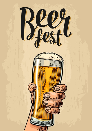 Male hand holding a beer glass. Beer fest lettering. Vintage color vector engraving illustration for web, poster, invitation to party or festival. Isolated on beige background