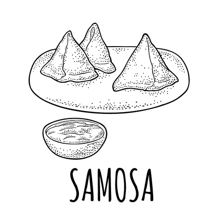 Samosa on board with sauces in bowl. Vector black engraving