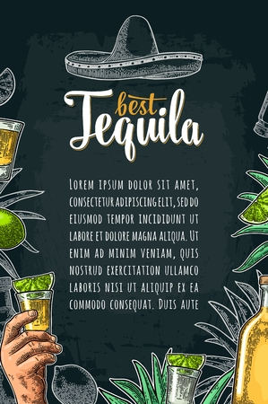 Vertical poster with hand holding glass, sombrero, bottle, salt, agave, lime whole and slice. Best Tequila lettering. Vintage color and white vector engraving illustration on dark background. Illustration