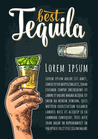 Vertical poster with hand holding glass, salt, slice lime. Best Tequila lettering. Vintage color vector engraving illustration on dark background. Illustration