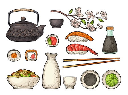 Réglez Sushi. Baguettes, wasabi, nigiri, rouleaux, planche, sauce soja, tasse, bouteille, bol, théière, branche de cerisier sakura avec fleurs et bourgeon. Gravure de vecteur noir vintage isolée sur fond blanc. Vecteurs