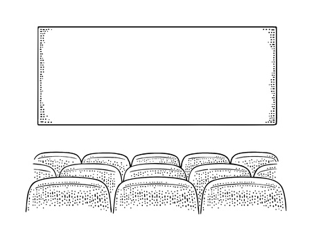 Movie theater hall and row of seats. Vector engraving vintage black Banco de Imagens - 108318121