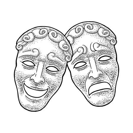Máscaras de teatro de comedia y tragedia. Ilustración de vector grabado vintage negro
