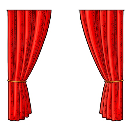 Curtain for theater. Vector engraving vintage color illustration. Isolated on white background. Hand drawn design element for poster Banco de Imagens - 109948425